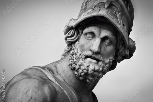 Ancient sculpture of Menelaus supporting the body of Patroclus. Florence, Italy