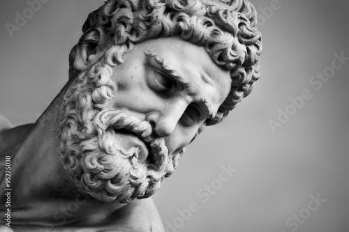 Canvas Prints Historic monument Ancient sculpture of Hercules and Nessus. Florence, Italy. Head close-up