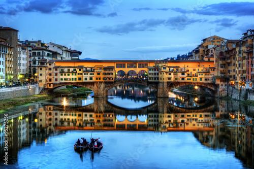 Ponte Vecchio bridge in Florence, Italy. Arno River at night Canvas Print