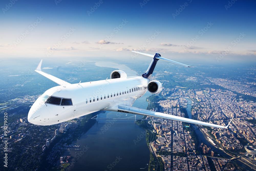Fototapety, obrazy: Private jet plane in the blue sky