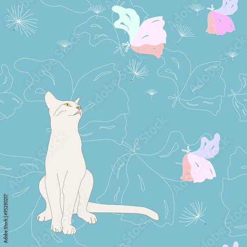 bialy-kot-i-slodkie-sny-wzor-kwiatowy-niebieskim-tle