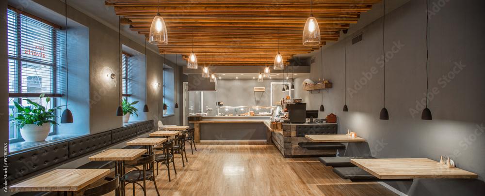 Fototapety, obrazy: Interior of restaurant. Panorama. Wooden design.
