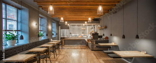 Foto op Aluminium Restaurant Interior of restaurant. Panorama. Wooden design.