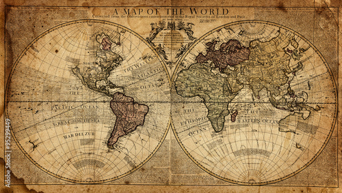 Foto op Canvas Noord Europa vintage map of the world