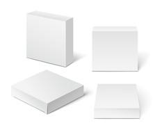 White Cardboard Package Box. Illustration Isolated On White Back