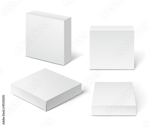 Fotografija White Cardboard Package Box. Illustration Isolated On White Back