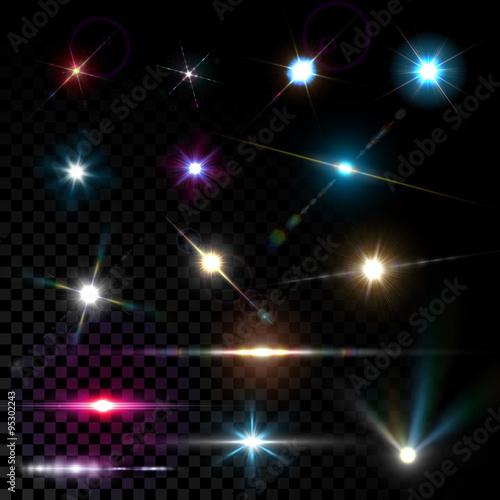 Obraz Realistic vector glowing lens flare light effect - fototapety do salonu
