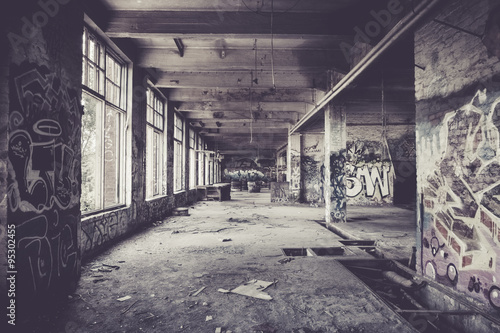 Photo Stands Old abandoned buildings Old abandoned factory hall