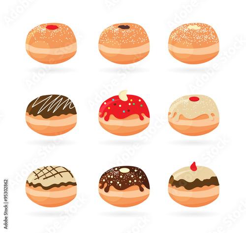 Fotografia Hanukkah doughnut . Traditional jewish holiday food.