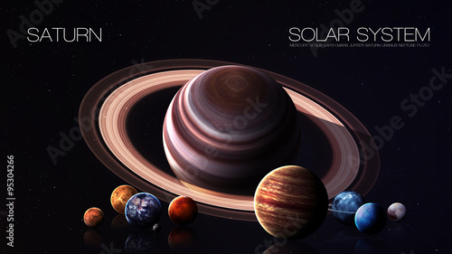 Deurstickers Nasa Saturn - 5K resolution Infographic presents one of the solar system planet. This image elements furnished by NASA