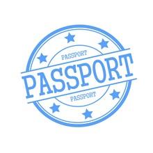 Passport Blue Stamp Text On Bl...