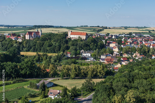 Fototapeta aerial view of  Otmuchow town obraz na płótnie