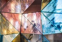 Colorful Geometric Triangular Metallic Background Texture