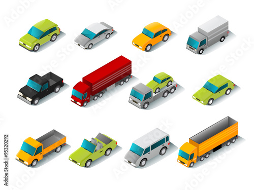 Isometric Car Icons Set