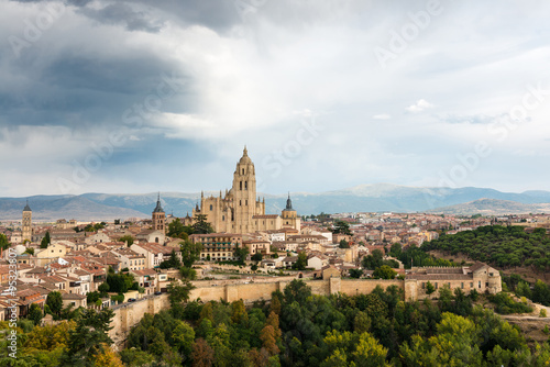 Cityscape of the medieval city of Segovia in Spain