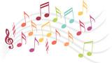 Notes de musique colorées sur une portée