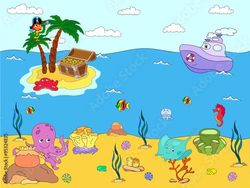 In de dag Kinderkamer Sea inhabitants and steamship. Octopus, jellyfish, starfish, sea