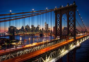 FototapetaNew York City - beautiful sunset over manhattan with manhattan a