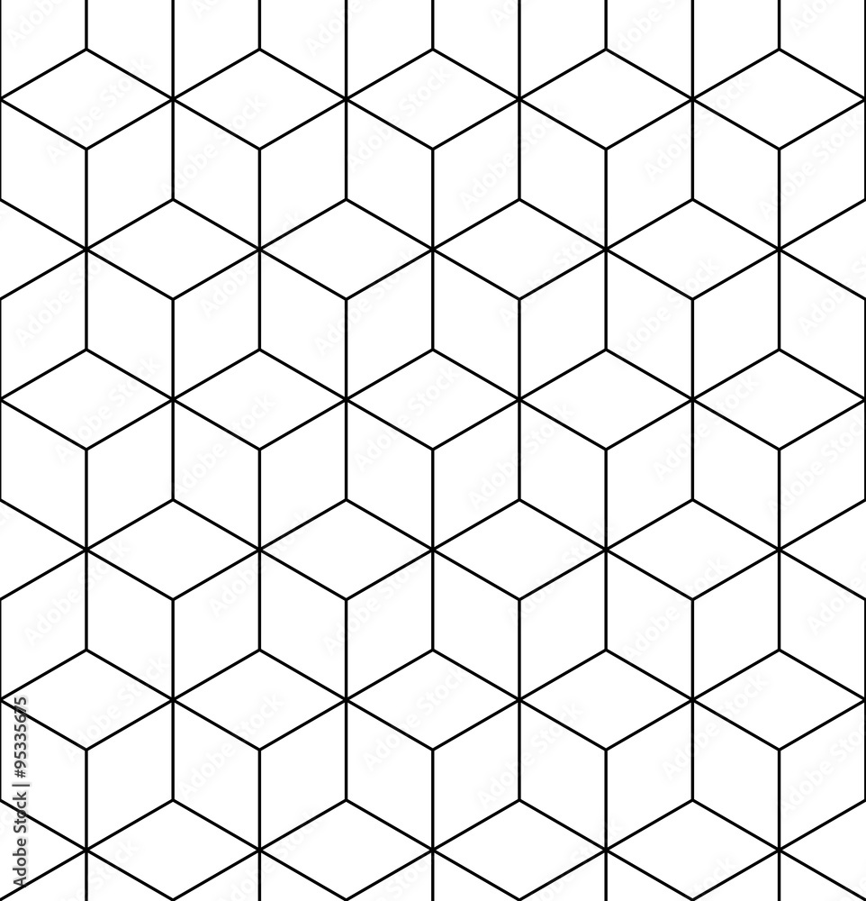 Geometric seamless pattern, endless black and white vector regul