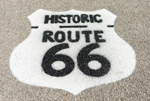 Historic Route 66 Sign On Forecourt Of Texaco Garage Restored At