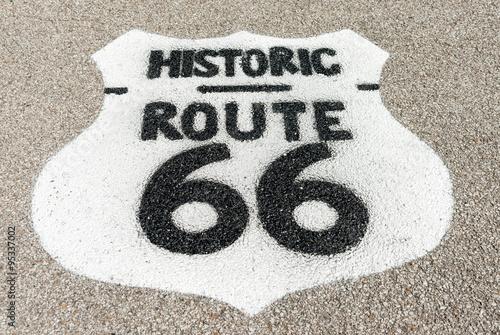 Fotografia, Obraz Historic Route 66 sign on forecourt of Texaco garage restored at