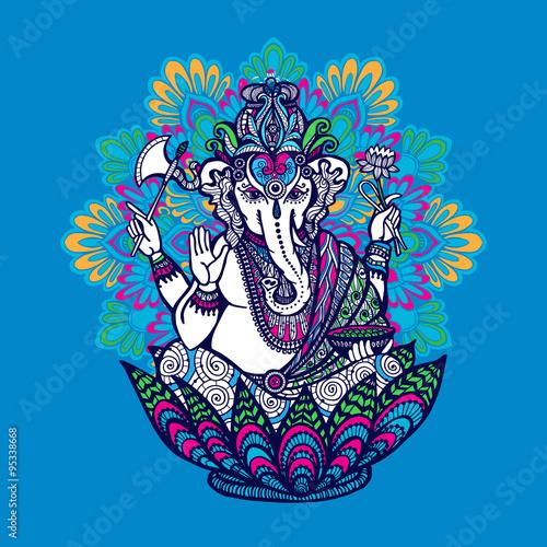 Photo  Ganesha With Ornate Mandala