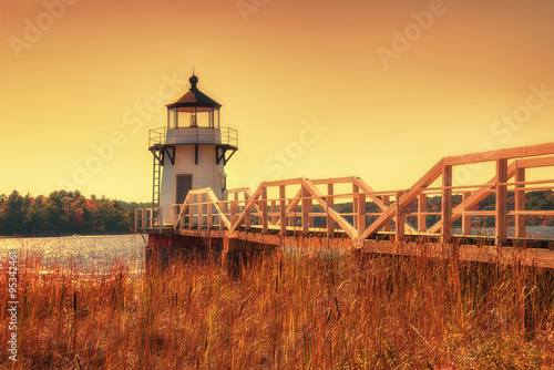 Tuinposter Vuurtoren Doubling Point Lighthouse in New England