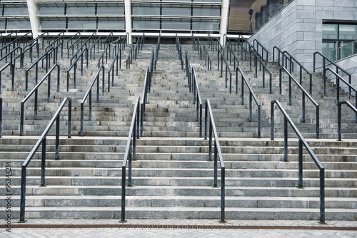 Spoed Foto op Canvas Stadion Stairs in front of big football stadium, low angle view