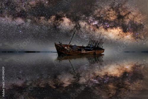 Fotografia Milky way Night sky scenes landscape Thailand.