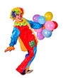 Happy birthday clown playing bunch of balloons.