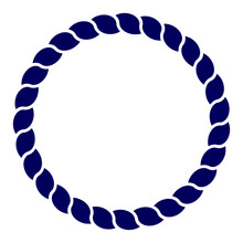 Circle Blue Navy Rope Vector Line Art Isolated