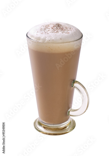 Fotografering coffee latte with frothy milk and chocolate powder