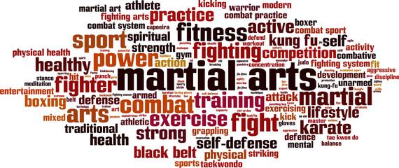 Panel Szklany Sztuki walki Martial arts word cloud concept. Vector illustration