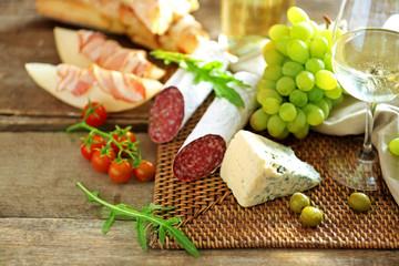 Fototapeta samoprzylepna Still life with various types of Italian food and wine