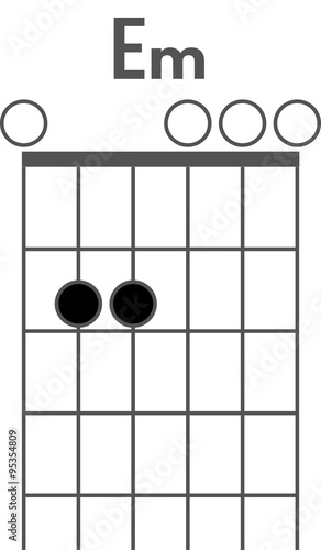 Guitar chord diagram to add to your projects, E minor chord - Buy ...
