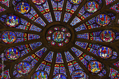 Aluminium Prints Stained Rose Window Mary Jesus Stained Glass Notre Dame Cathedral Paris
