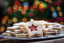 Plate Of Christmas Cookies Under Lights