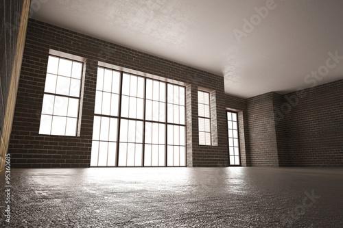 Printed kitchen splashbacks Cat 3d illustration of Brick room with large windows