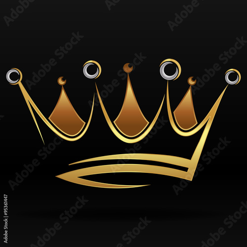 Fotografia, Obraz Gold abstract crown for graphic design and logo on black background