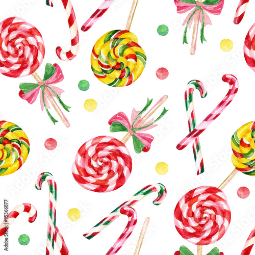 Cotton fabric Lollipop candy cane seamless pattern