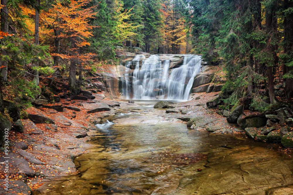 Mumlava Waterfall in Autumn Forest