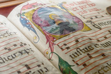 Medieval Ancient Illuminated Manuscript With Gregorian Chant Mus