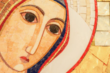 Detail Of The Face Of A Mosaic Of The Blessed Virgin Mary