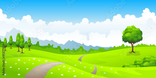 In de dag Lime groen Summer landscape with meadow flowers and mountains