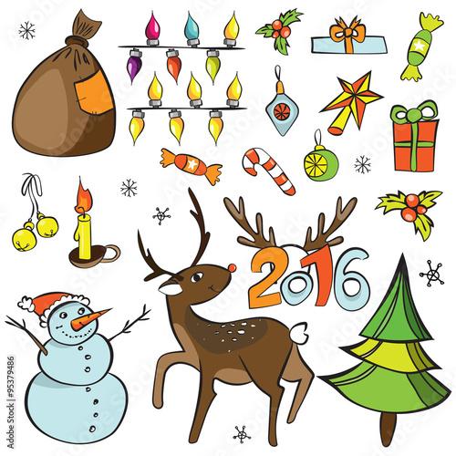 Photo  Christmas decorations set
