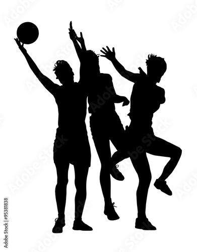 Silhouette of korfball ladies league girl players catching ball