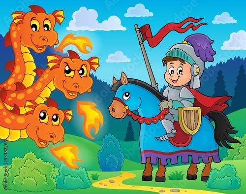 Foto op Plexiglas Zeemeermin Knight on horse and lurking dragon