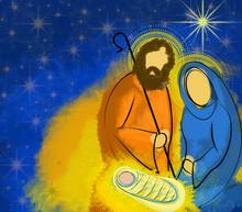 Christmas Nativity Scene Holy Family Mary Joseph And Child Jesus