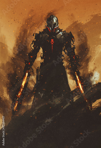 Fotografia, Obraz warrior posing with fire flame swords on fire background,illustration painting