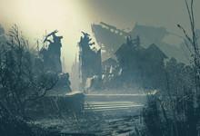 Abandoned City In Heavy Rain,l...